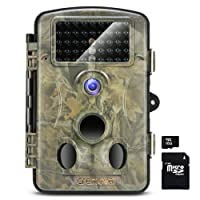 Crenova RD1000 Infrared Night Vision Waterproof Hunting Trail Game Camera with 3 PIR Sensor 42pcs Low Glow IR LEDs Digital Surveillance Camera (SD Card Included)