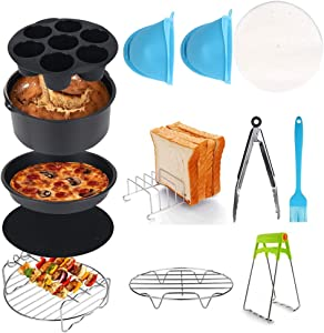Air Fryer Accessories, Set of 12, Fit all 3.2QT - 5.8QT Power Deep Hot Air Fryer with 7 Inch Cake Barrel, Pizza Pan, Cupcake Pan, Oven Mitts, Skewer Rack