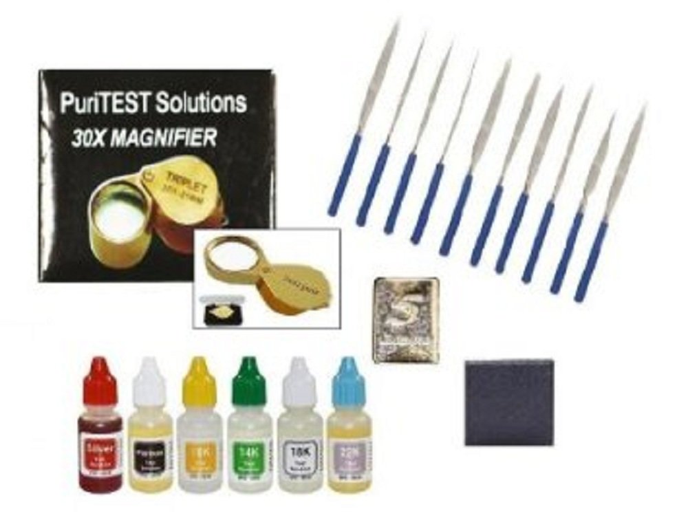 PuriTEST New Gold, Silver & Platinum Analyzer Testing Kit 6 Fresh Acid Bottle Solutions + 10pcs File Set + 10x Eye Loupe + 5gn Pure Silver Test Bar by PuriTEST