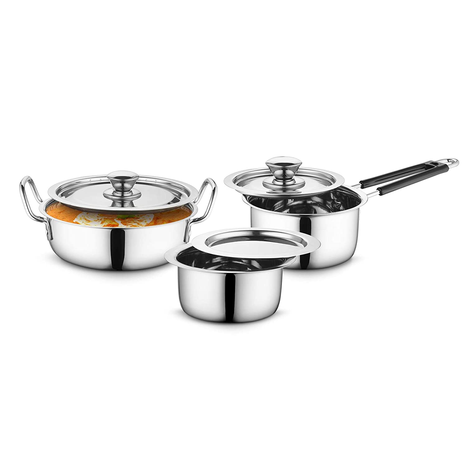 Stainless Steel Cookware 3 pcs Set with Stainless Steel Lid- (Silver, Tope- 1.5 Litre, Karahi- 2.5 Litre, Sauce Pan- 1.5 Litre)