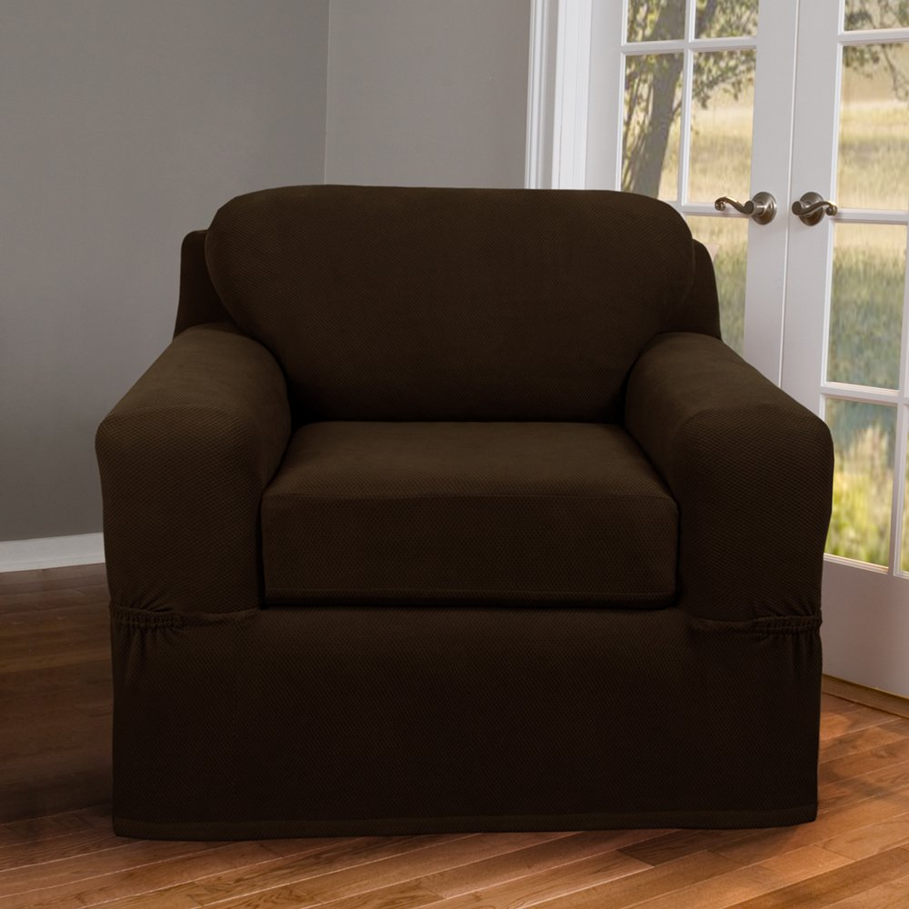 Amazon.com: Maytex Pixel Stretch 2 Piece Slipcover Chair, Chocolate: Home U0026  Kitchen
