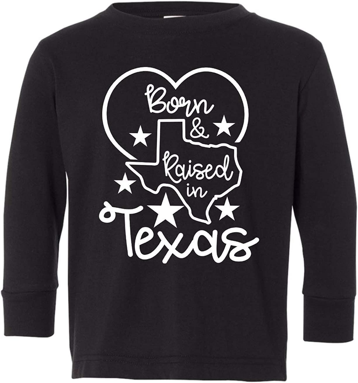 Tenacitee Toddlers Born and Raised in Texas Long Sleeve T-Shirt