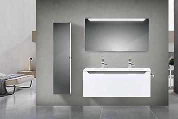 Badezimmermöbel doppelwaschbecken grau  Badmöbel Set mit 120 cm Doppelwaschtisch Grau Hochglanz ...