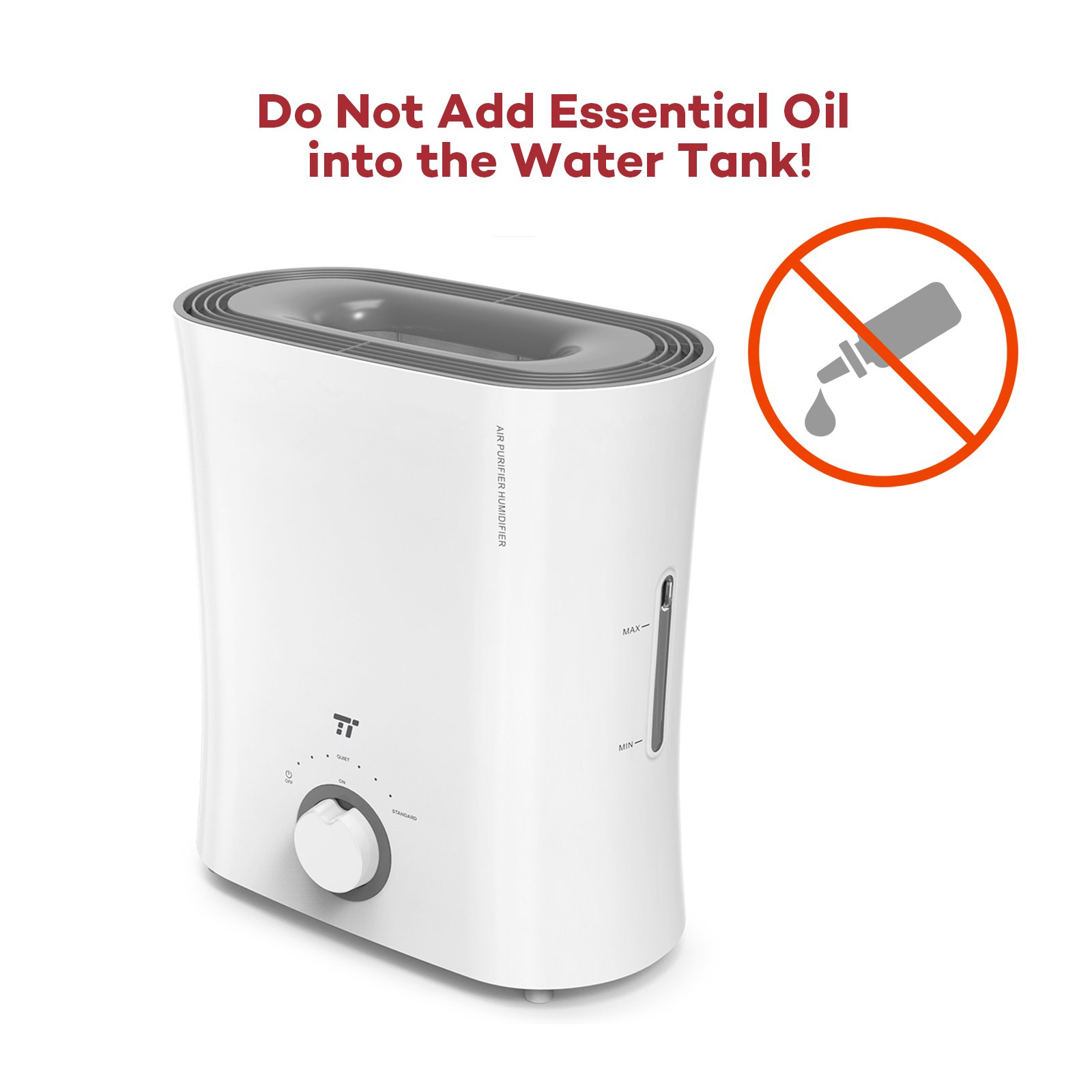 TaoTronics Evaporative Humidifier, Air Purifier, Germ-Free and Invisible Moisture with Wicking Filter, Top Fill Cool Mist Humidifiers for Bedroom, Office and Nursery -(2.5 L/0.66 gal, 110V) by TaoTronics (Image #7)