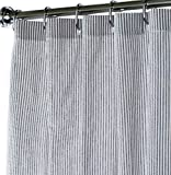 Black and White Extra Long Shower Curtain Unique Designer Fabric Striped Seersucker 84 Inches