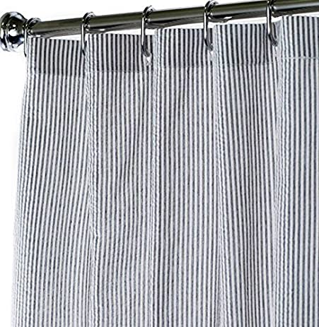 Attractive Black And White Extra Long Shower Curtain Unique Designer Fabric Striped  Seersucker 84 Inches