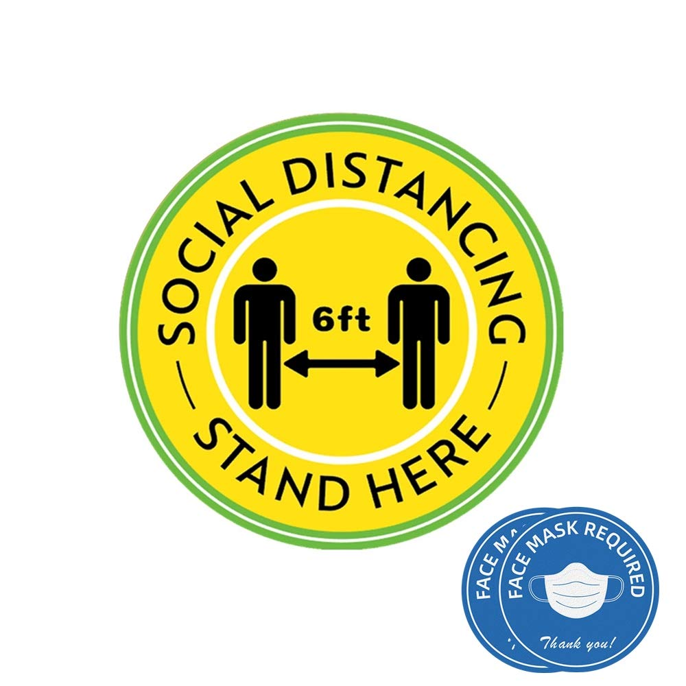 "Social Distancing Floor Decals Stickers 10 Pack, 12"" Safety Floor Sign Marker, Stand Here 6Ft with Footprints Round Distance Sign, Non-Slip Moveable Waterproof for Grocery, Supermarket"