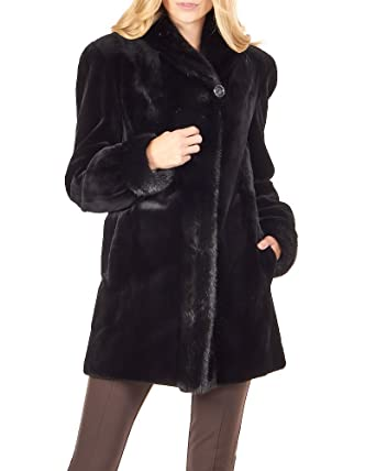 653dcf4aa7c1 frr Reversible Real Mink Fur Coat Black at Amazon Women s Coats Shop