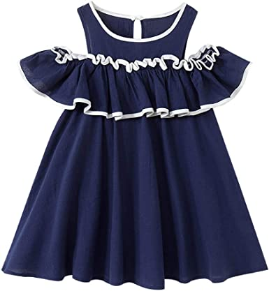 Baby Girls Cherry Print Dress Little Princess Dresses Sleeveless Skirt Outfits 2-7 Years Little Kids Clothing