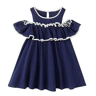 d9d13226cf25 Amacok Baby Girl Beach Dress Stripe Pattern Off Shoulder Summer Dress Ruffle  Collar Toddler Kids Clothes