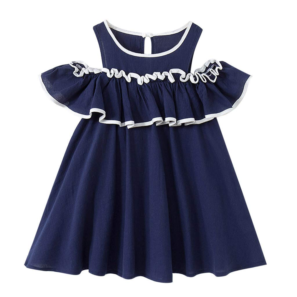 Teen Baby Girls Dress Fashion Sleeveless Ruffles Dresses 2-7 Years Little Princess Skirt Spring Summer Clothing