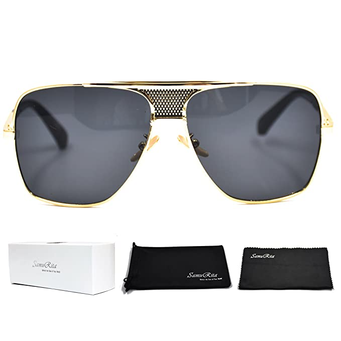 c977923be SamuRita Metal Celebrity Flat Top Aviator Sunglasses Oversized Designer  Shades(Black Lens/Gold Frame