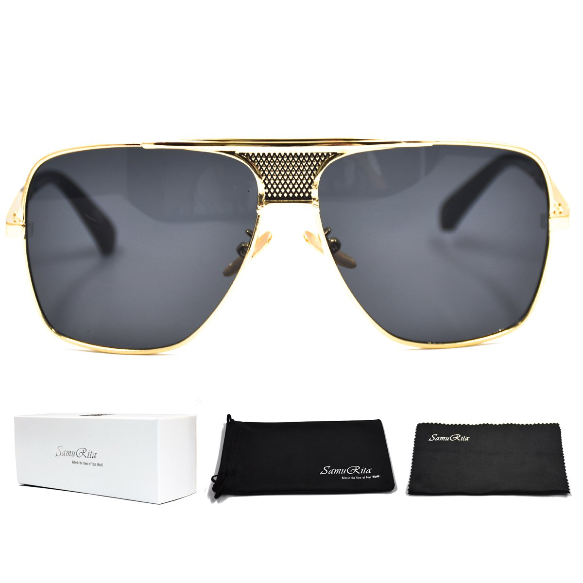 SamuRita Metal Celebrity Flat Top Aviator Sunglasses Oversized Designer Shades(Black Lens/Gold Frame)