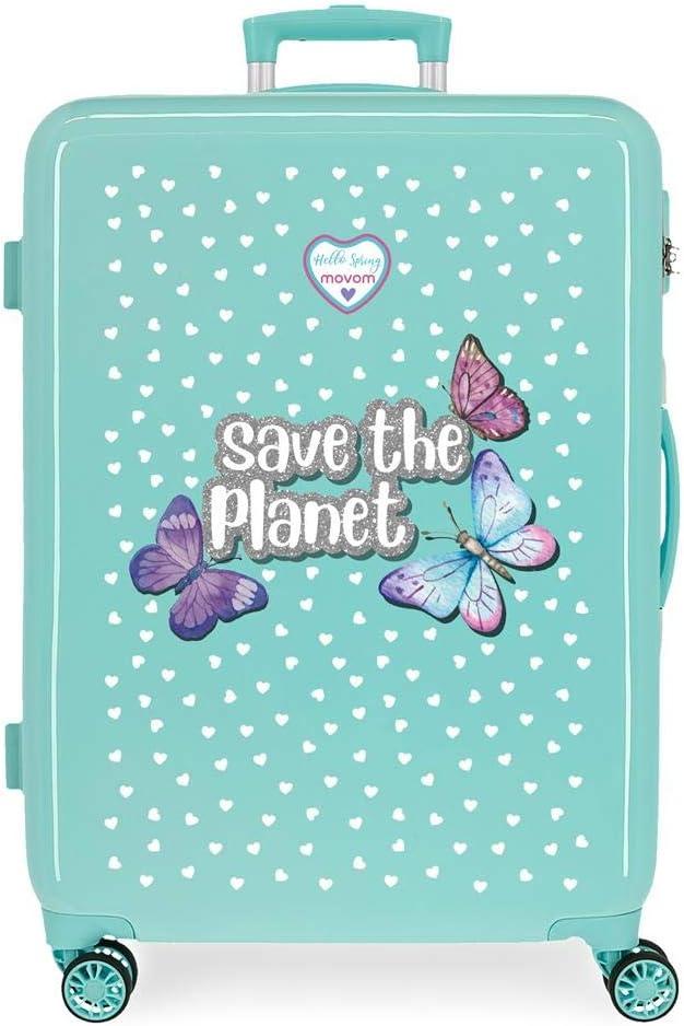 Maleta Mediana Movom Save The Planet rígida, Azul, 48x68x26 cm