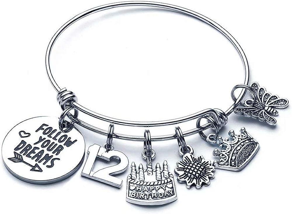 M MOOHAM Birthday Gifts for Women Girls Bracelet - Expandable Charm Bracelets 10th 20th 30th 40th 50th 60th 70th 80th 90th Birthday Gift for Friend, Mom, Daughter, Wife, Grandma Jewelry Present