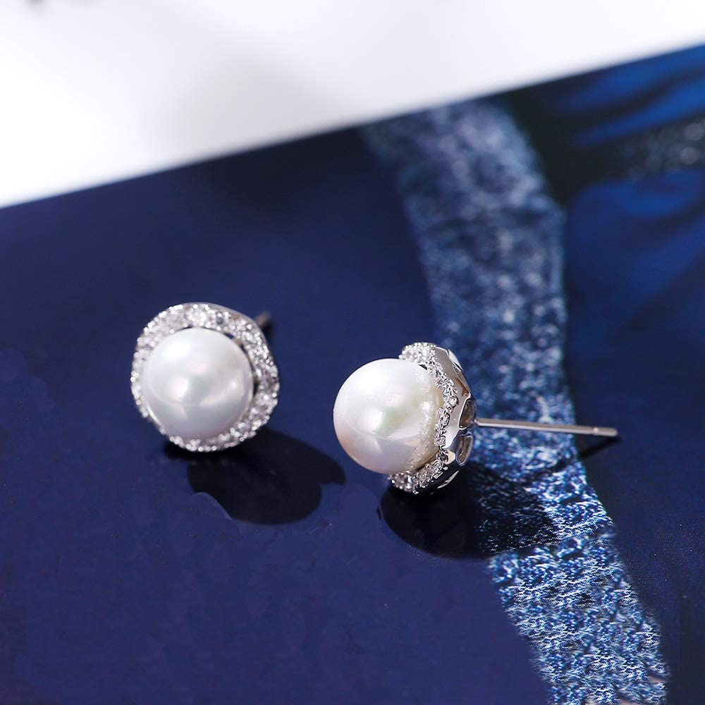 TB0127 S925 needle starfish earrings inlaid with pearl and crystal