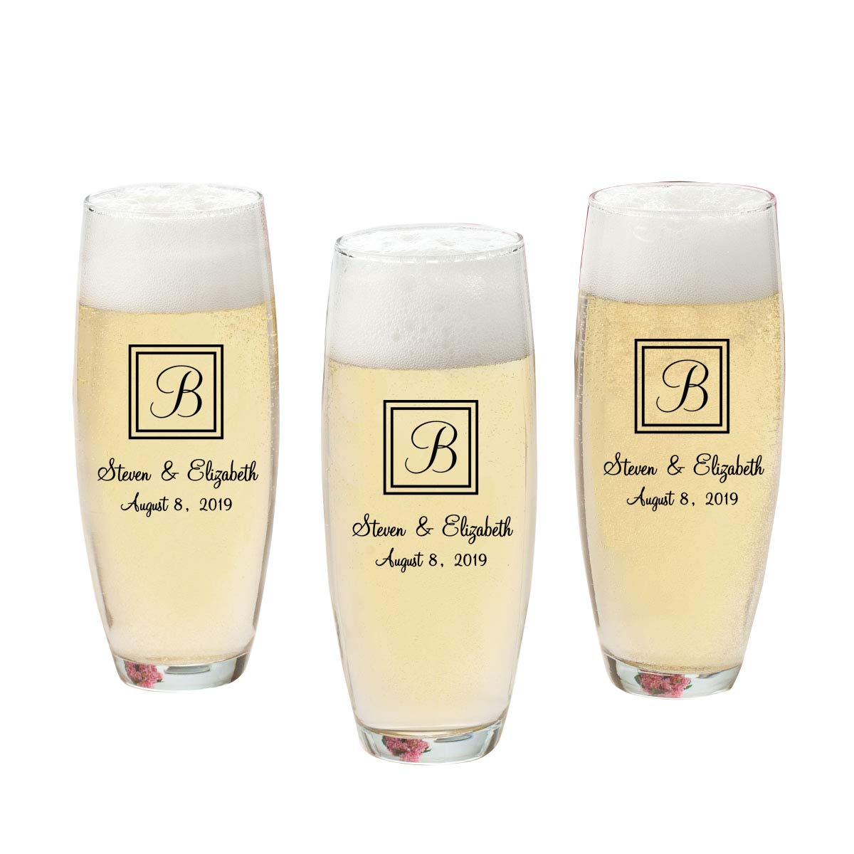 Personalized Stemless Champagne Flutes - (Set of 24) - Personalized Champagne Glasses - Monogrammed Champagne Flutes - X22