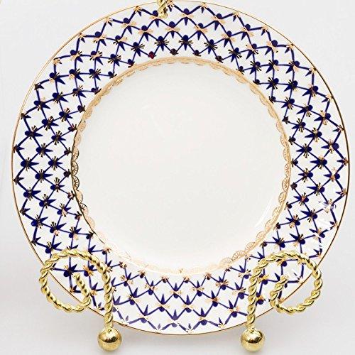 Imperial / Lomonosov Porcelain Cobalt Net Dessert Plate 6-inch