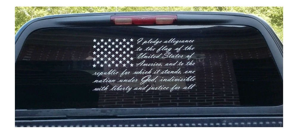 5c94b5e22c Amazon.com   American flag pledge of allegiance vinyl truck window sticker  decal (7