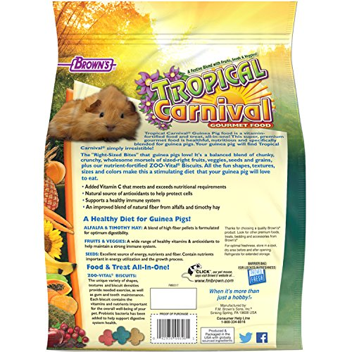 Picture of F.M. Brown'S Tropical Carnival Gourmet Guinea Pig Food With Alfalfa And Timothy Hay Pellets, 10-Lb Bag - Vitamin-Nutrient Fortified Daily Diet