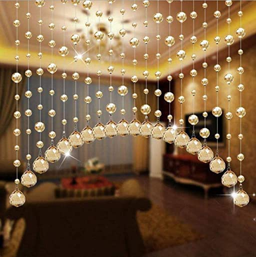 2020 New Champagne Arched Crystal Beaded Curtain,Decorative Door String Curtain Beads US store
