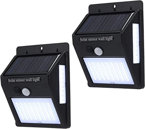 Solar Light Outdoor, Solar Motion Sensor Security Light 100 LED, Waterproof Wall Light with 2200mAh for Patio Yard Path Garage Black 2 Pcs White Light