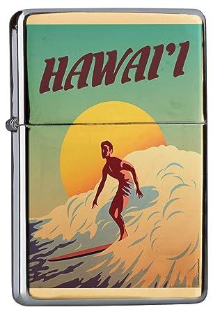 Encendedor Cromo De Gasolina Recargable Nostálgico Surfer Tabla de Surf Hawaii sol