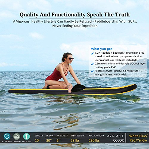 Yiilove Inflatable Stand Up Paddle Board 10 iSUP Board with Adjustable Paddle and Dual Action Pump and Travel Backpack