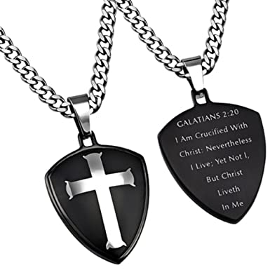 Black Shield Of Faith Galatians 220 Necklace CRUCIFIED With CHRIST Bible Verse
