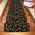 Seloom Washable Non-Slip Stair Treads Carpet with Skid Resistant Rubber Backing Specialized for Indoor Wooden Steps