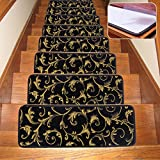 Soloom Stair Treads Carpet Indoor Non Slip Blended Jacquard Skid Resistant Stair Tread Rugs Set of 13 ,26×10 Inch,Black