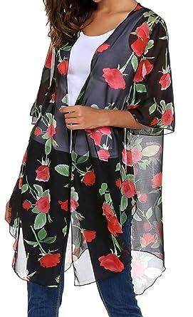 5449d90f60 Qiangjinjiu Womens Sheer Floral Chiffon Kimono Cardigan Beachwear Swimsuit  Cover up Black XS