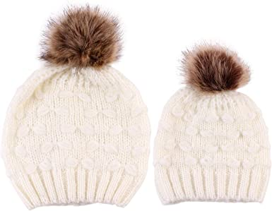 Fashion Mom and Baby Kids For Solid Color Hats Warm Winter Crochet Knitting Wool