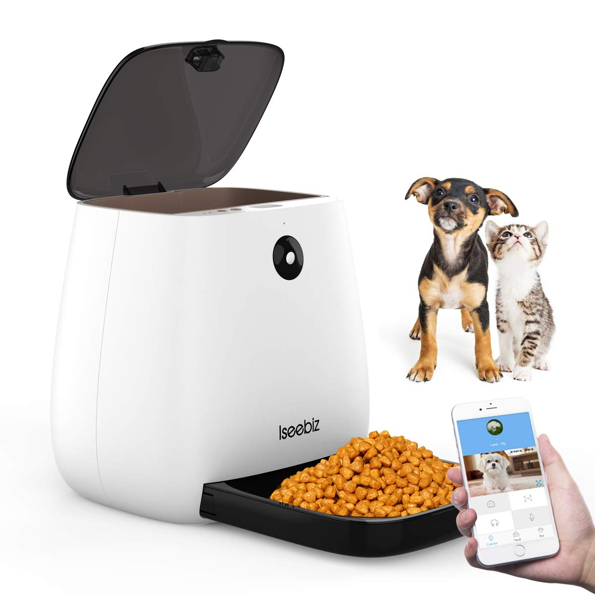 Iseebiz Smart Pet Feeder with 1080P Camera, 3.3L Automatic Cat Dog Feeder, App Control, Food Weighing, Auto Video Record, 2-Way Audio, 12 Meals a Day for Medium Small Cats Dogs, Compatible with Alexa by Iseebiz
