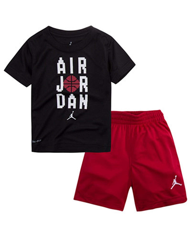NIKE Air Jordan Boy's 2 Piece Pants & T-Shirt Set (4, Gym Red)