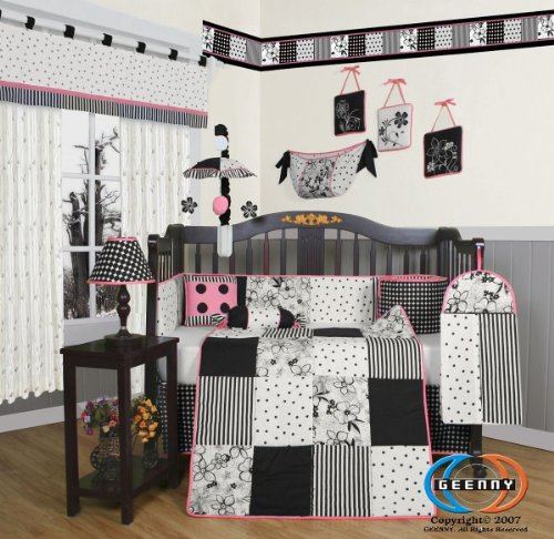 GEENNY Boutique Crib Bedding Set, Beautiful Black White Flow