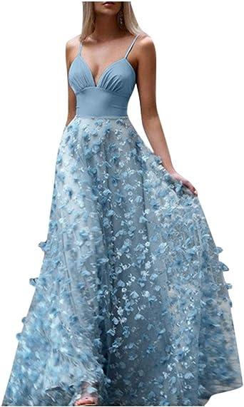 ZHANSANFM seksowna sukienka wieczorowa z dekoltem w kształcie litery V, sukienka na ramiączkach, sukienka na imprezę, jednokolorowa, elegancka, długa sukienka wieczorowa, sukienka balowa, xl: Duże urz