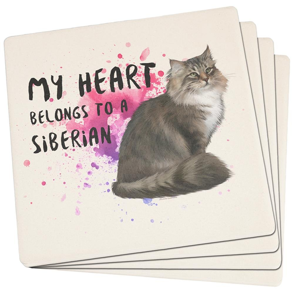 My Heart Belongs Siberian Catのセット4正方形サンドストーンコースター   B018RH1CBS