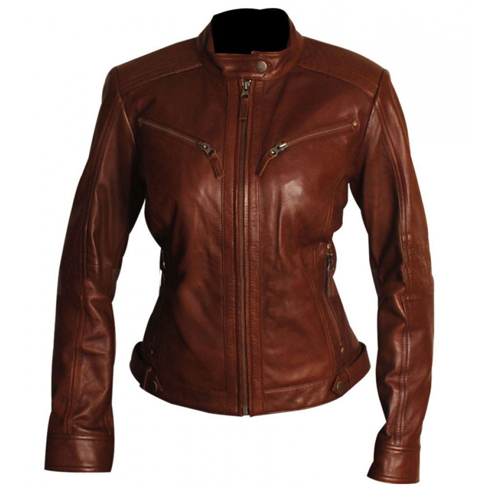 UGFashions Womens Body Fitted Vintage Brown Motorcycle Real Leather Biker Jacket