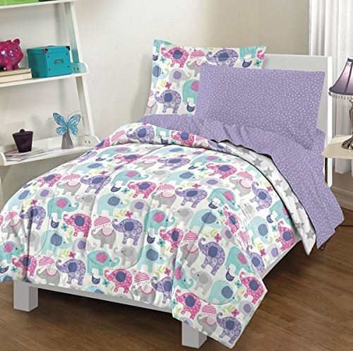 Elephant Comforter Twin Set, Hot Pink Light Sky Blue Leaf Green, Cute Polka Dot Animals Bedding, Dot Star Striped Umbrellas Daisy, Flower Bird Umbrella Themed ()