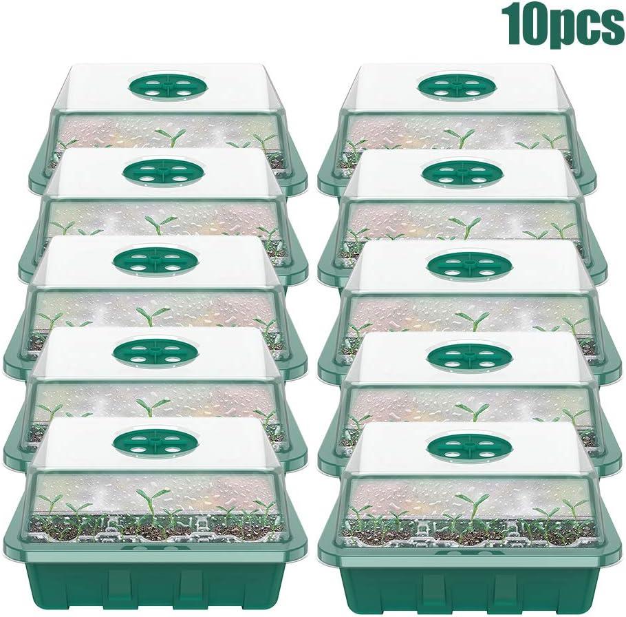 12 Cellules Serre Semis 10pcs Mini Serre,Plus Epais,Bac /à Semis Pot De Croissance,Bac De Semis avec Couvercle Ajustable Et Plateau Semis Culture pour D/émarrage Semence