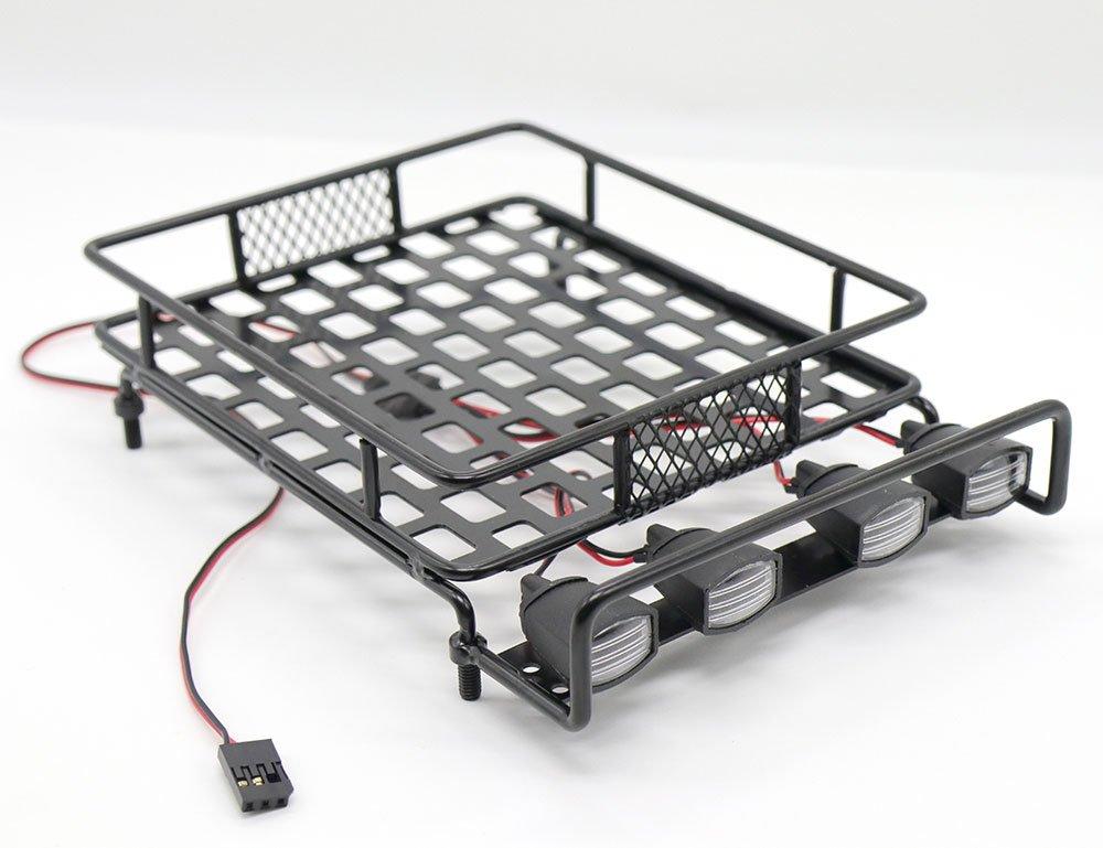 WishRing RC 1:10 Roof Luggage Rack LED Light Bar Wrangler Tamiya CC01 SCX10 Axial 514 (Black)