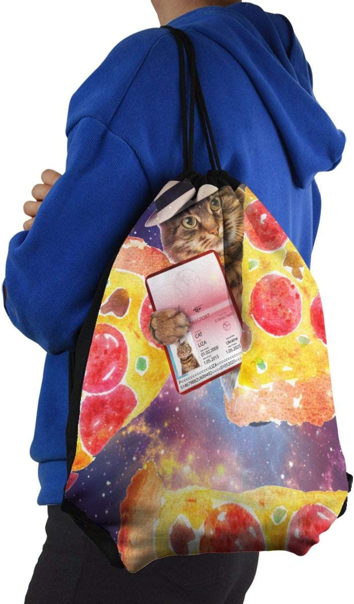 Ljxing Space Cat Pizza Funny Gym Drawstring Bags Travel Backpack Tote Rucksack