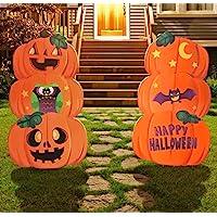 JOYIN 2 Sets Pumpkin & Ghost Stake Metal Halloween Outdoor Decorations for Halloween Outdoor/Indoor Decorations, Lawn Yard Decorations, Trick or Treating, Halloween Prop