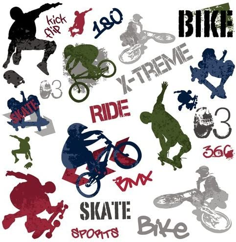 Roommates Extreme Sport X Games Skateboard BMX Peel /& Stick Wall Decals