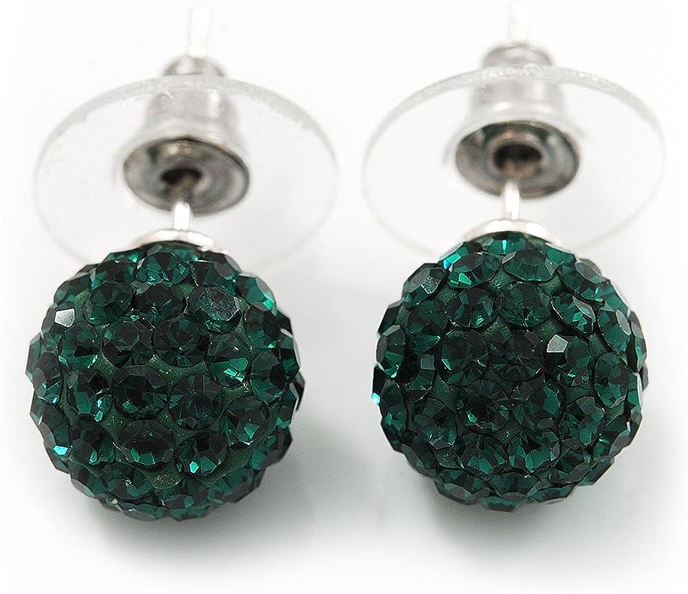 Dormilonas de bola con cristales Swarovski color verde esmeralda con enchapado de plata