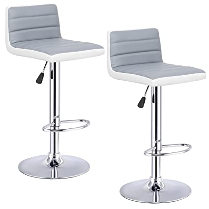 Exceptionnel Costway Swivel PU Leather Adjustable Bar Stools Set Of 2