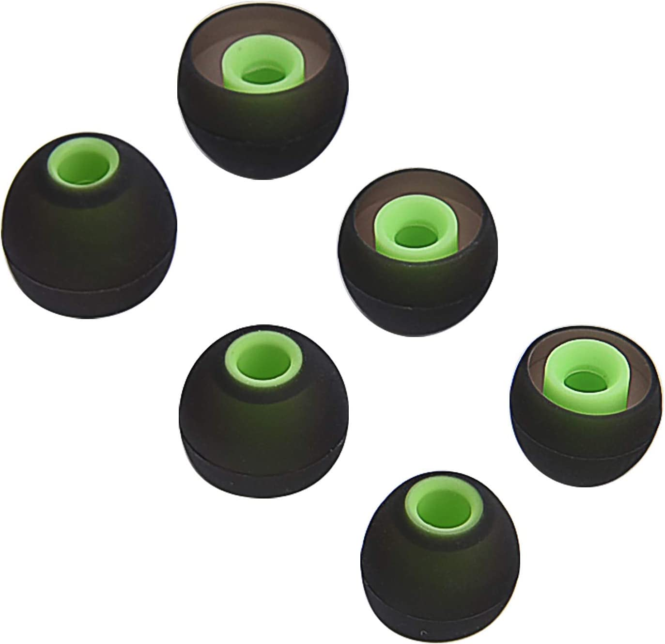 Replacement Noise Isolation Silicone Soft Ear Buds Earplug Tips for Senso TOZO Green, Small, Medium, Large - 5 Pair Hussar Sport in Ear Headphones Wireless Earphones Zeus Otium Sony