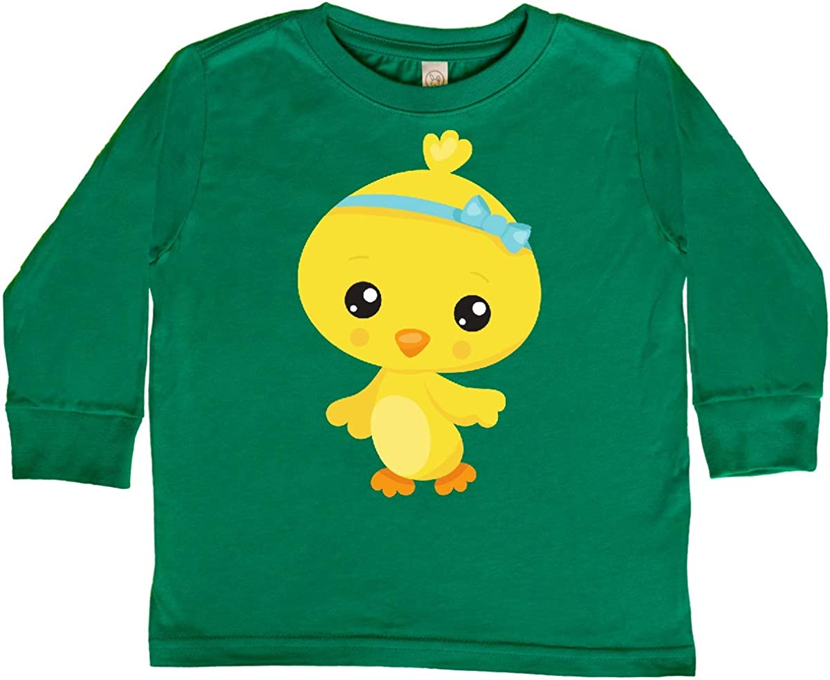 Chicken with Blue Toddler Long Sleeve T-Shirt inktastic Cute Little Chicken