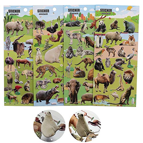 ForTomorrow Animal Stickers for Kids, Simulated Animal Stickers Within Tigers/Lions/Hippo/Zebra/Panda Foam Zoo Animals Decals for Craft Card Making 72 PCS Puffy Stickers -